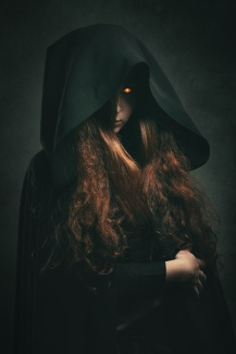 Fire witch with black robe